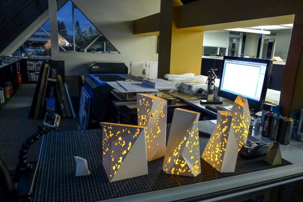 tlcdarchitecture, laser cutter, rapid prototyping, holiday centerpieces