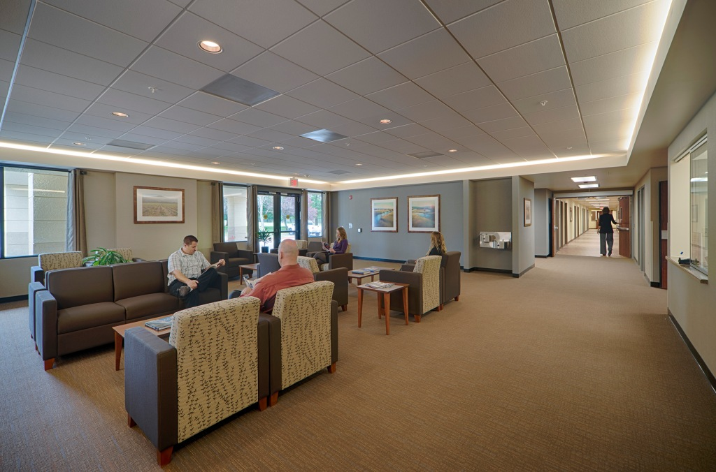 Inside the Aurora Santa Rosa Hospital. TLCD Architecture recently completed renovations at this mental health hospital in Santa Rosa, CA. The finishes selected create a warm, welcoming atmosphere conducive to healing. The same design approach is being used in the Sonoma County Crisis Stabilization Unit.