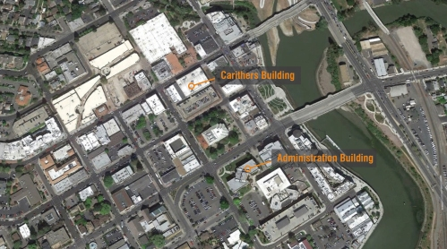 Downtown Napa, earthquake damaged buildings, County of Napa, Carithers Building, Main Administration Building