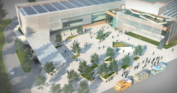 tlcd architecture, healthcare design, integrating primary cary and mental health, jason brabo, design competition, outdoor plaza, food trucks, kid play areas, indoor outdoor stair
