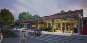 Wine Business Institute, Sonoma State University, TLCD Architecture, Rendering of Exterior Night
