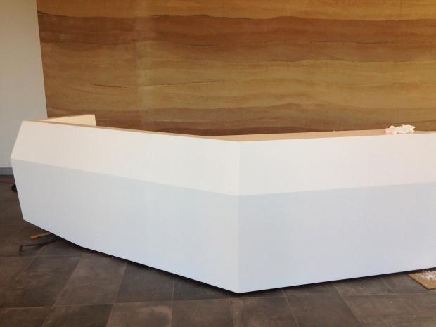 isomi, american accredit, reception desk, commercial interiors, tlcd architecture