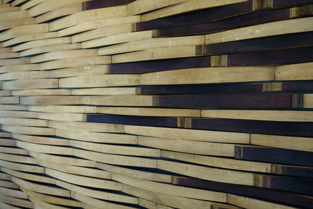 Wine stave wall designed by TLCD's Nick Diggins, using Sonoma County wine barrel staves.