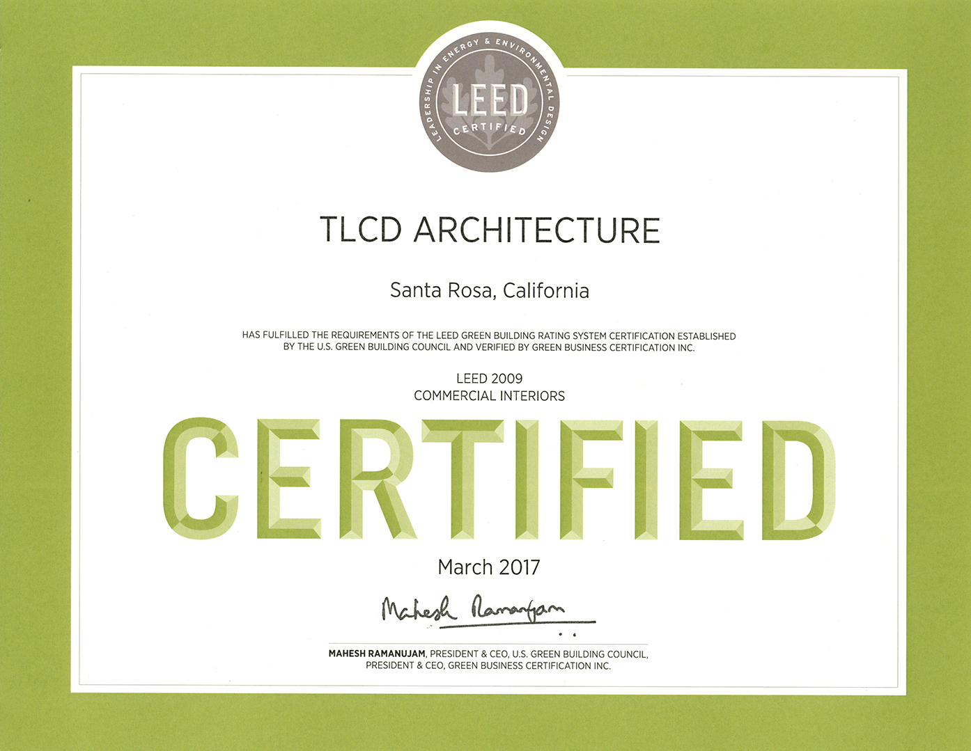 tlcd architecture s office attains leed certification tlcd today
